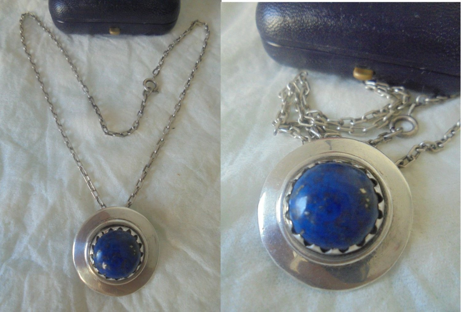 Chain NECKLACE and PENDENT Sterling SILVER 925 and Lapis Lazuli Native Indians Zuni +box