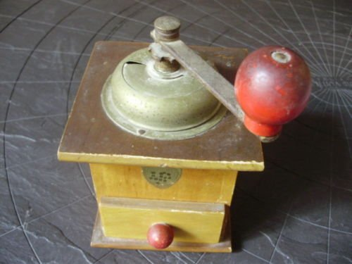 COFF COFFEE GRINDER in wood and metal Original from 1960 Working
