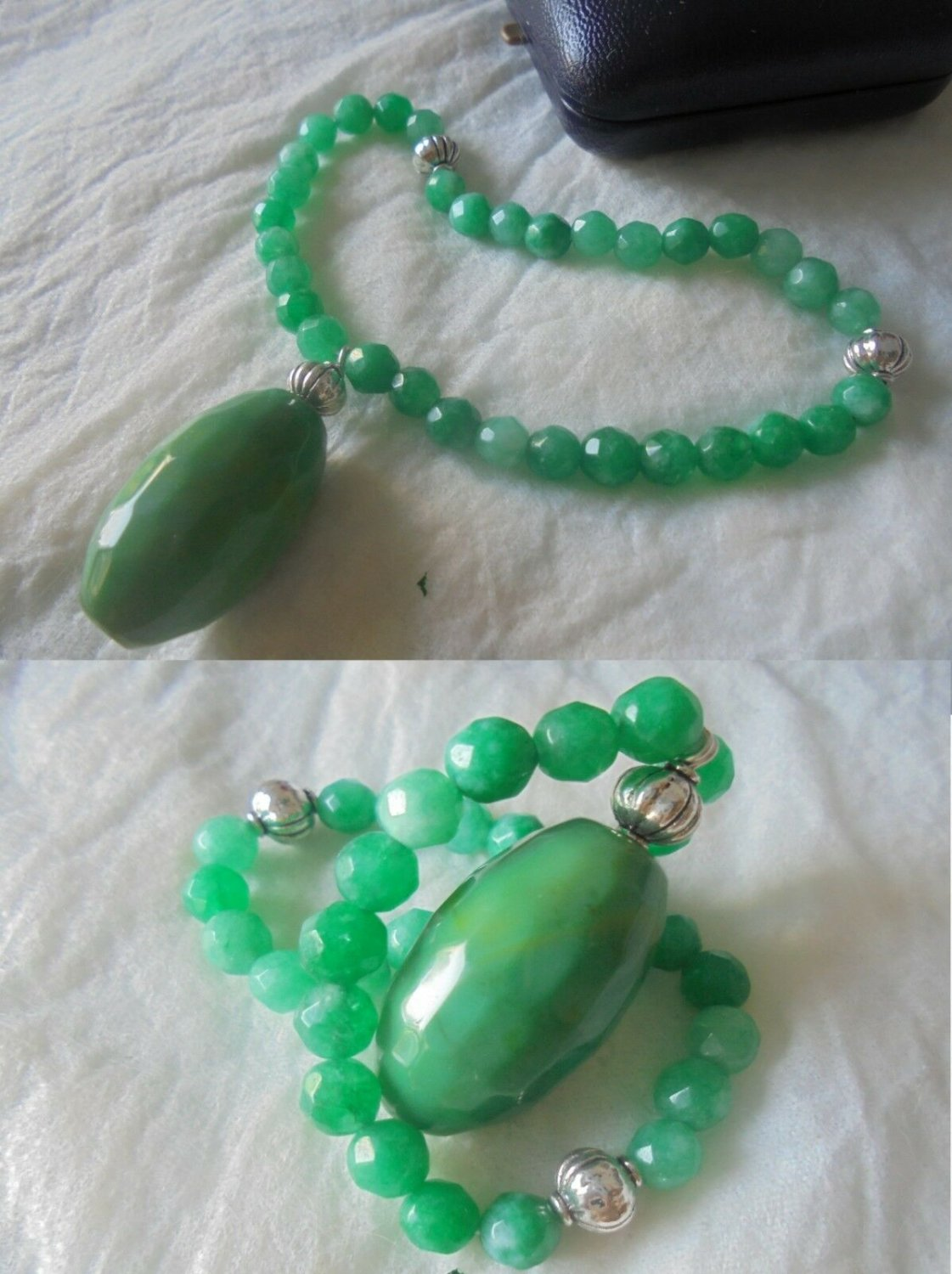 TASBIH bracelet in JADE and SILVER 800 Muslim prayer Original