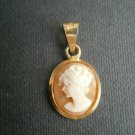 CAMEO pendent charm with woman face in Sterling SILVER 925 gold plated and SHELL Original Italy