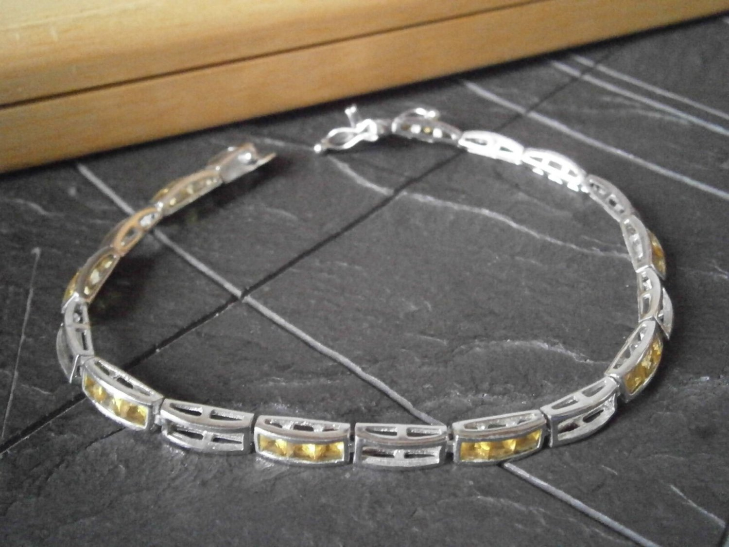 BRACELET in sterling SILVER 925 and yellow SWAROVSKI crystals Original in gift box
