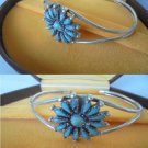 BRACELET in Sterling SILVER 925 and TURQUOISE flower Orginal Navajo Reservation Usa 1980s