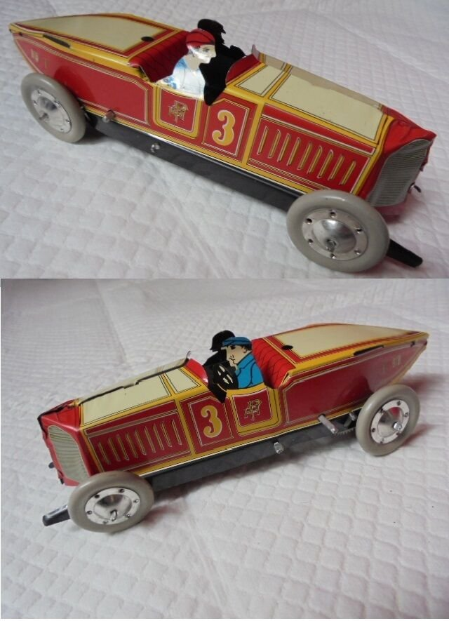 TIN TOY CAR wind up mechanism Original 1960s Working