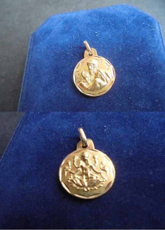 PENDENT MEDAL in GOLD 18 Karats religious christianity Italy 1AR 1.3 grams In gift box