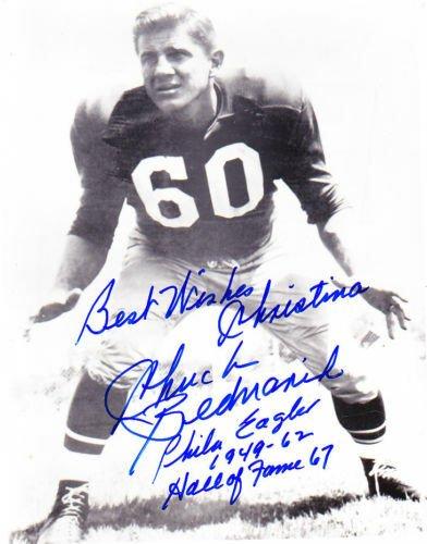 CHUCK BEDNARIK football EAGLES Original handsigned autograph on photo