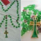 ROSARY NECKLACE glass Murano beads Sovereign Order of St. John Jerusalem, Knights Malta 1970s