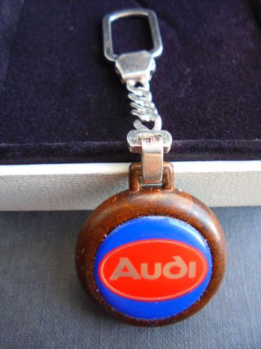 AUDI KEYCHAIN in SILVER sterling 925 and wood from 1990s Original
