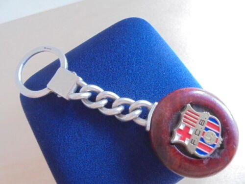 BARCELONA FOOTBALL CLUB keychain in silver sterling 925 and wood Original 1990s
