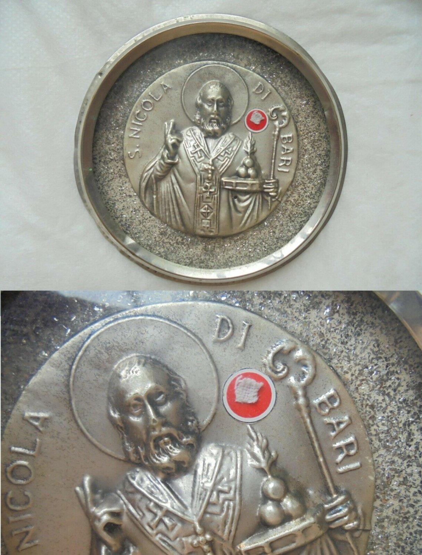 RELIQUARY with relic of SAN NICOLA of Bari Italy Saint Nicholas Original 1950s
