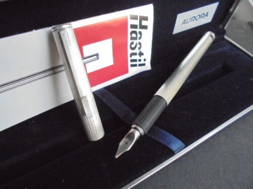 AURORA HASTIL fountain pen in SILVER 925 and gold 14K in gift box with garantee