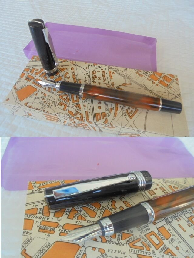 PILON fountain pen lacquè and in GOLD 18K GP Original