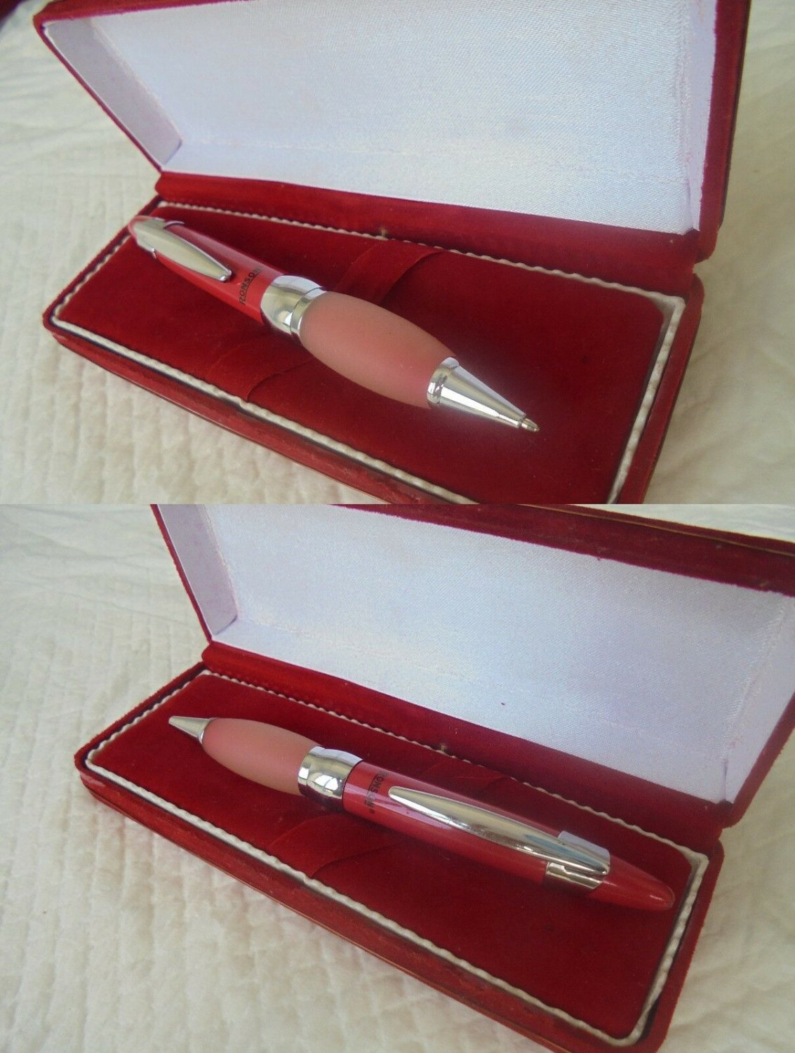 RONSON Ball Pen Red and steel + Box ORIGINAL