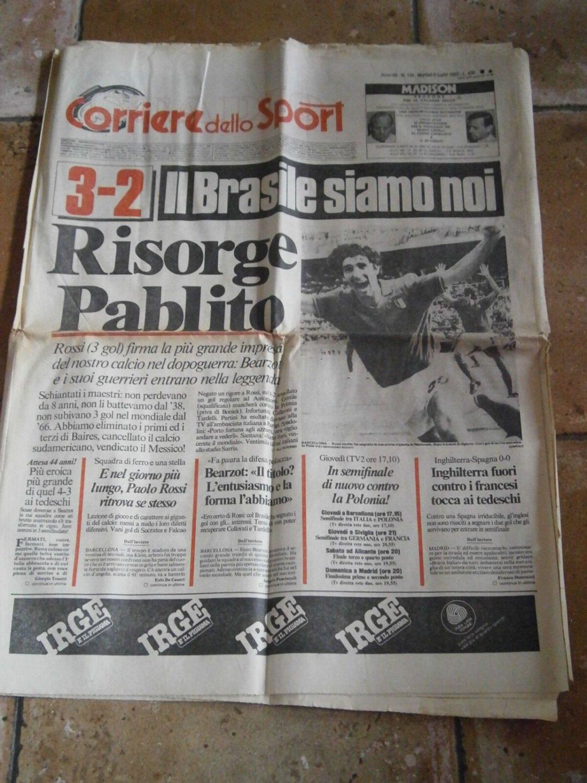 CAMPIONATI MONDO 82 Corriere Sport 6/7/1982 Il Brasile siamo Noi Giornale Newspaper Soccer World Cup