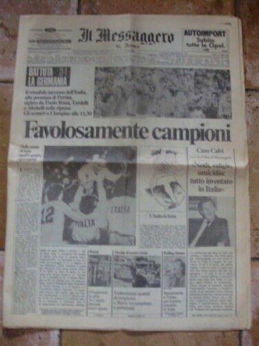 Il MESSAGGERO 12-5-1982 ITALIA 3 GERMANIA 1 Campioni del Mondo Soccer World Cup newspaper