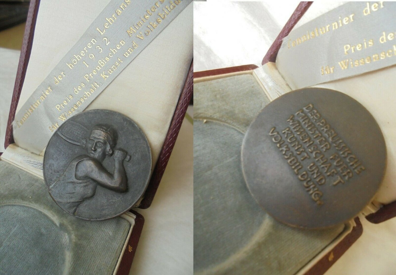 BRONZE Medal Tennis tournament Berlin Germany 1932 WWII engraver J. STARCKE