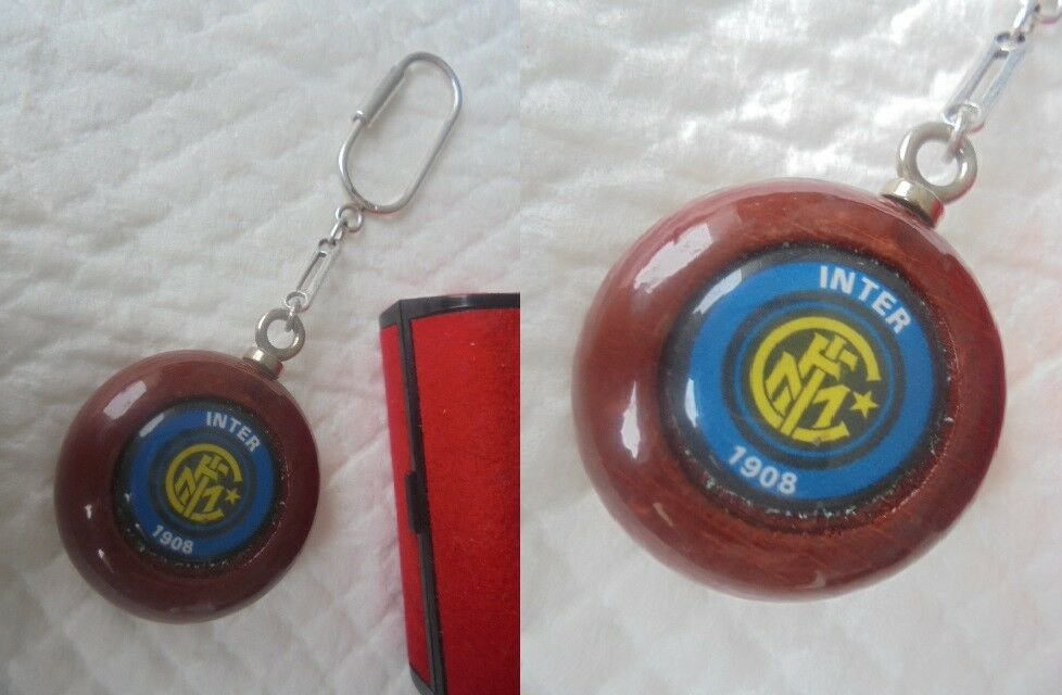 INTER CALCIO soccer team KEYCHAIN in sterling silver 925 and wood