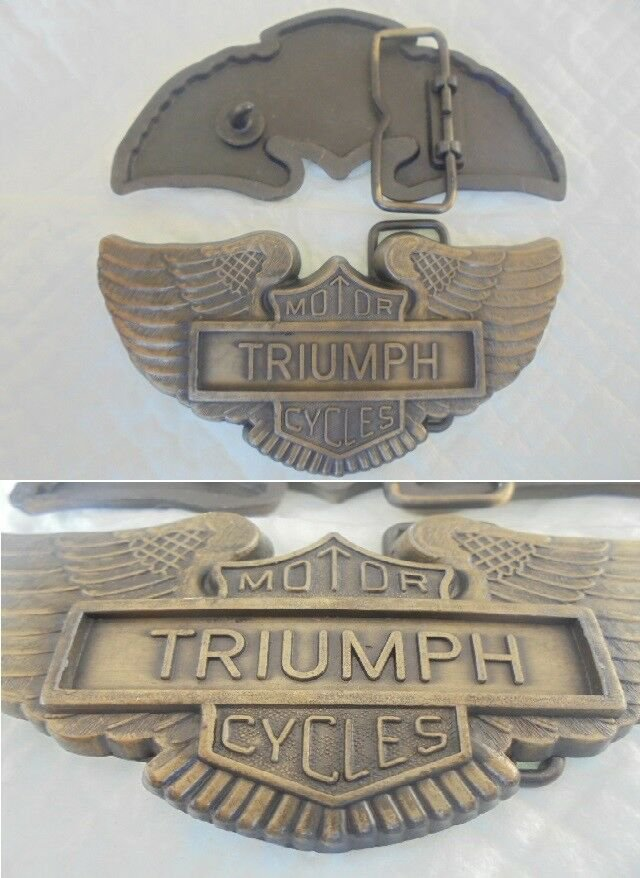 Metal belt buckle TRIUMPH MOTOR CYCLES original from 1980s Motorcycle