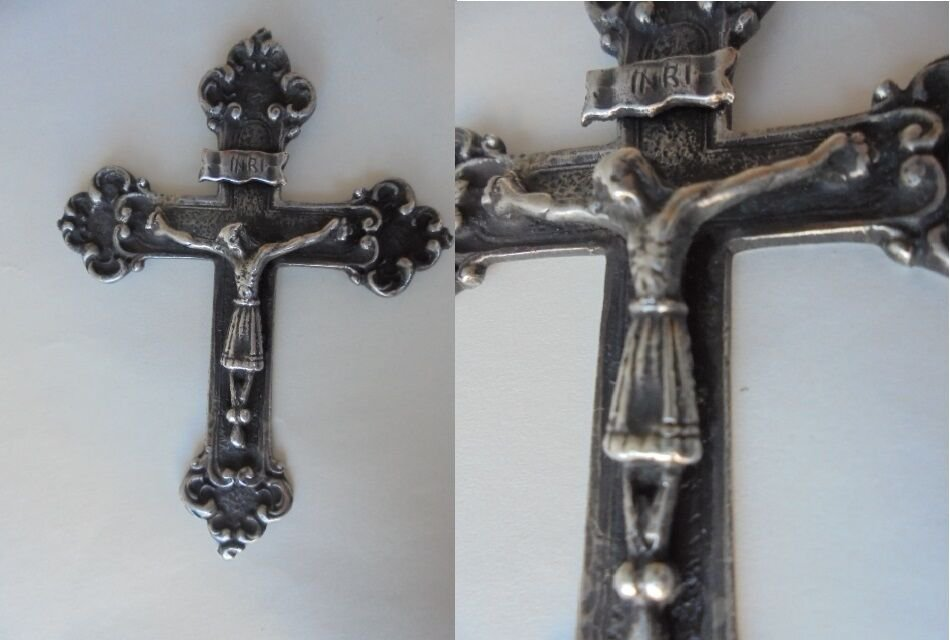 GOTIC CRUCIFIX in SILVER 800 holy cross Napoli Italy 1900s Original
