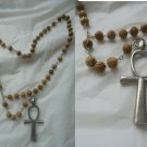 Original prayer ROSARY necklace with beads in WOOD and ANKH cross
