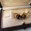 GOLD PLATED EARRINGS with tiger eye stone and white Swarovski crystals Original in gift box