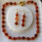 NECKLACE and EARRINGS set in CARNELIAN stone Original in gift box Made in Italy