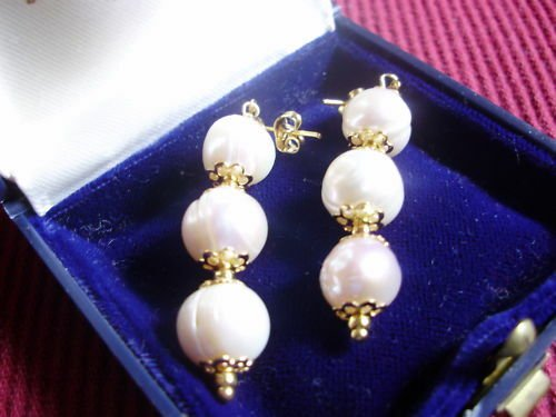 PENDENT EARRINGS with pearls Original in gift box Made in Italy