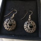 EARRINGS in Sterling SILVER 925 and OBSIDIAN stone Original in gift box
