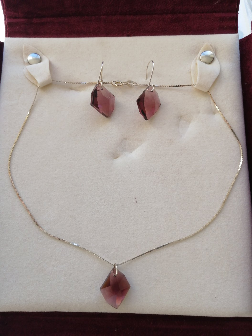 EARRINGS and NECKLACE set in Sterling SILVER 925 and violet purple Quartz Original in gift box