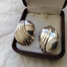 ART DECO Sterling Silver EARRINGS oval shape Original in gift box