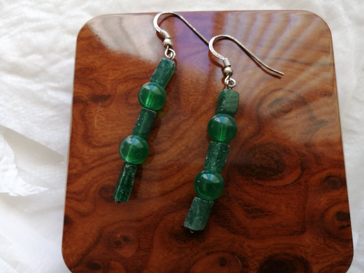 EARRINGS in real green JADE of Alaska and Sterling SILVER 92 Original in gift box