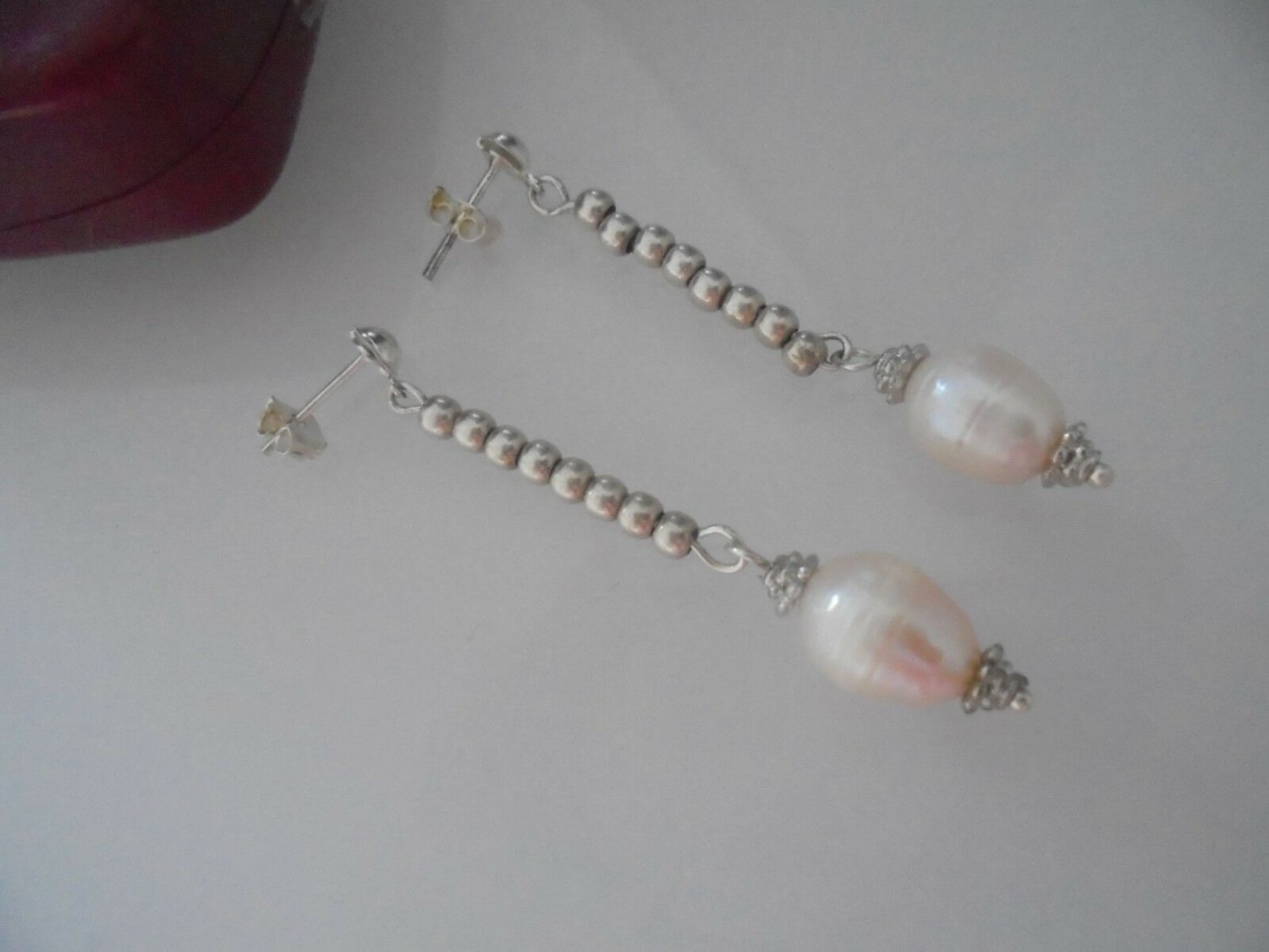 Dangle EARRINGS in sterling SILVER 925 and PEARLS Originals in gift box