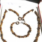 NECKLACE and BRACELET set in TIGER Eye stone Original in gift box