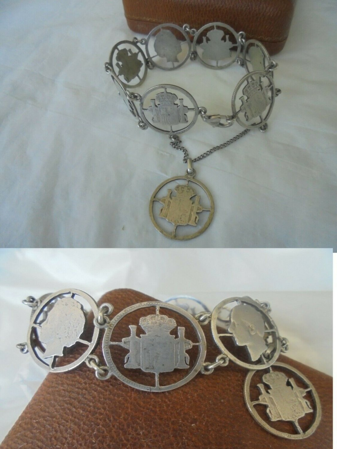 Original charm BRACELET sterling SILVER 925 with symbols of Royals of Spain 1950s Franco era
