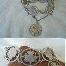 Original charm BRACELET sterling SILVER 925 with symbols of Royals of Spain 1950s Franco era
