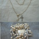 ROSARY of Virgin Mary in SILVER STERLING 925 Cross with crystals Original 1980s