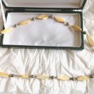 Original Long NECKLACE in SILVER 800 and bone from 1960s In gift box