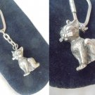 KEYCHAIN with CAT charm both in SILVER 835 Original from 1990s in gift pochette
