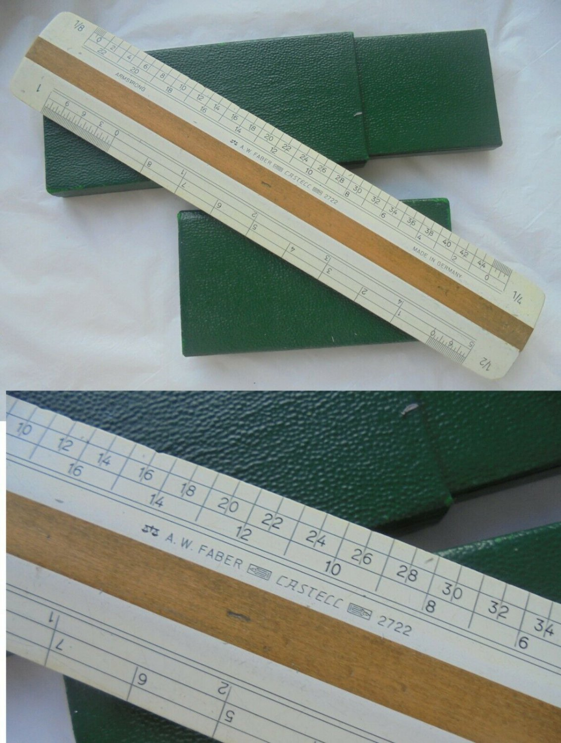 Slide ruler FABER CASTELL MODEL 2722 in wood Original from 1970s in box