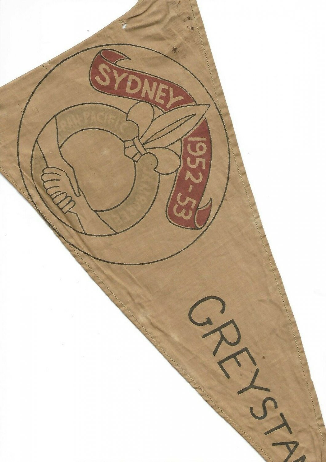 BOYS SCOUTS flag pennant of the JUBILEE Pan Pacific 1952 Sydney Australia Greystanes Original