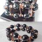 BRACELET in STERLING silver 925 and black Murano glass beads Made in Italy Original