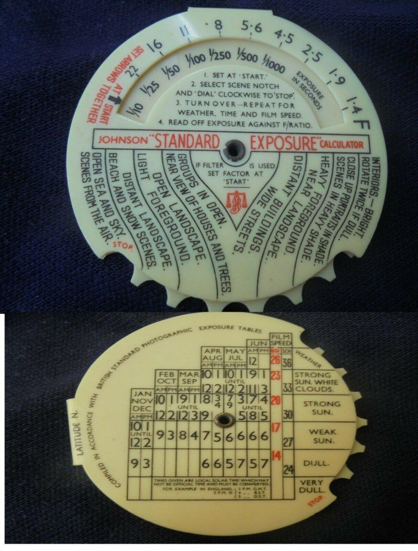 JOHNSON STANDARD EXPOSURE Calculator light meter Original 1950s working