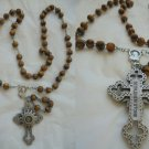 ROSARY neckace with olive wood beads BETHLEHEM and cross with RELIC stone Original 1960s