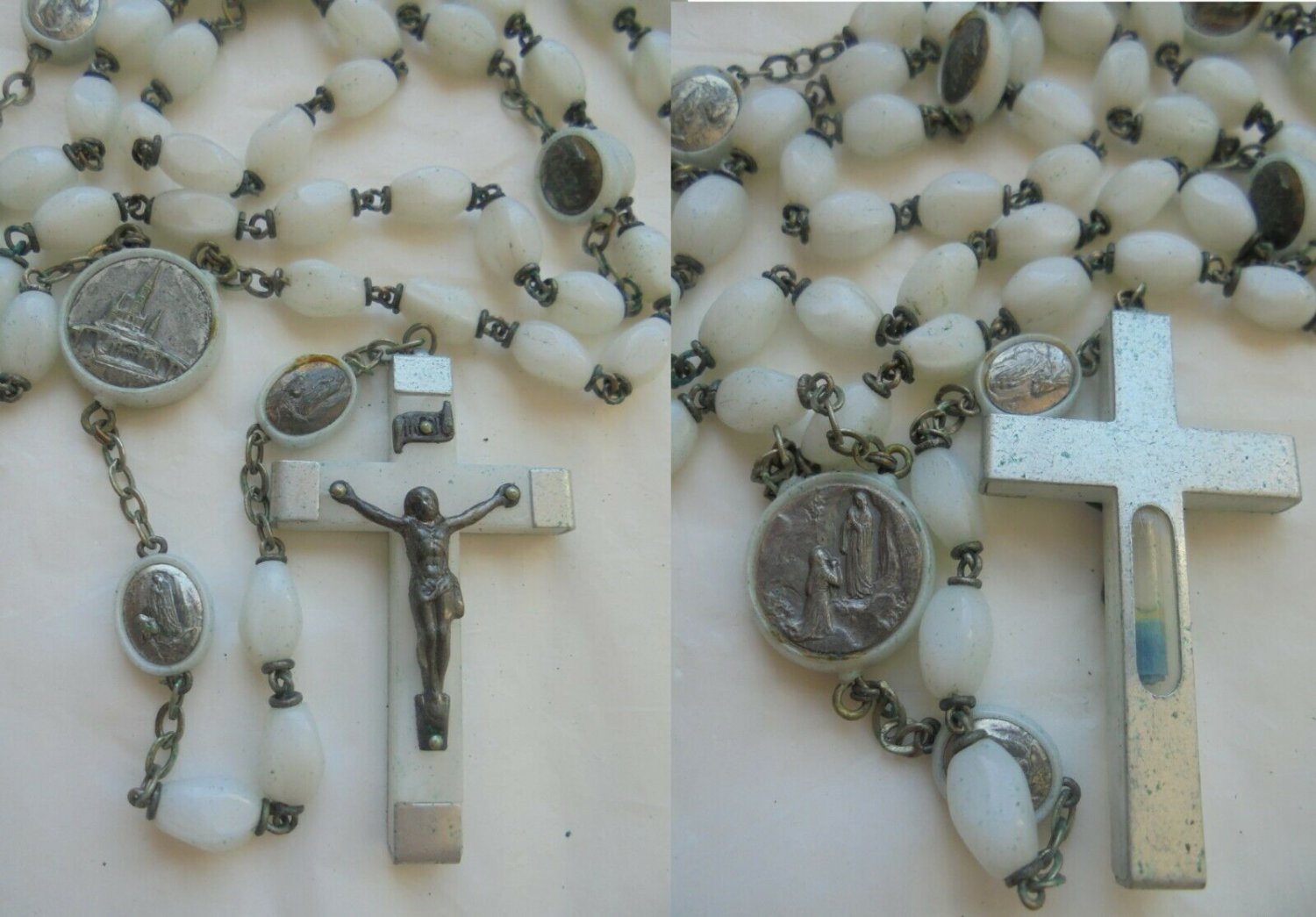 Rosary necklace Sanctuary Virgin Mary of Lourdes with relic of holy water Original 1960s