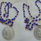 ROSARY with blue glass Murano beads of Vergin Mary of Velva Genova Italy Original 1950s