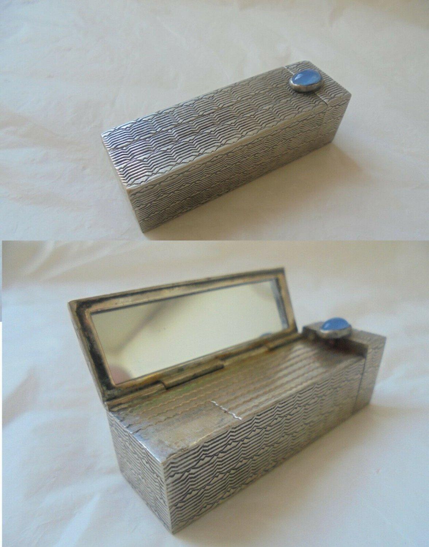 LIPSTICK stick holder case in SILVER 800 cabochon stone with Lapis Lazuli Original Art Deco 1940s