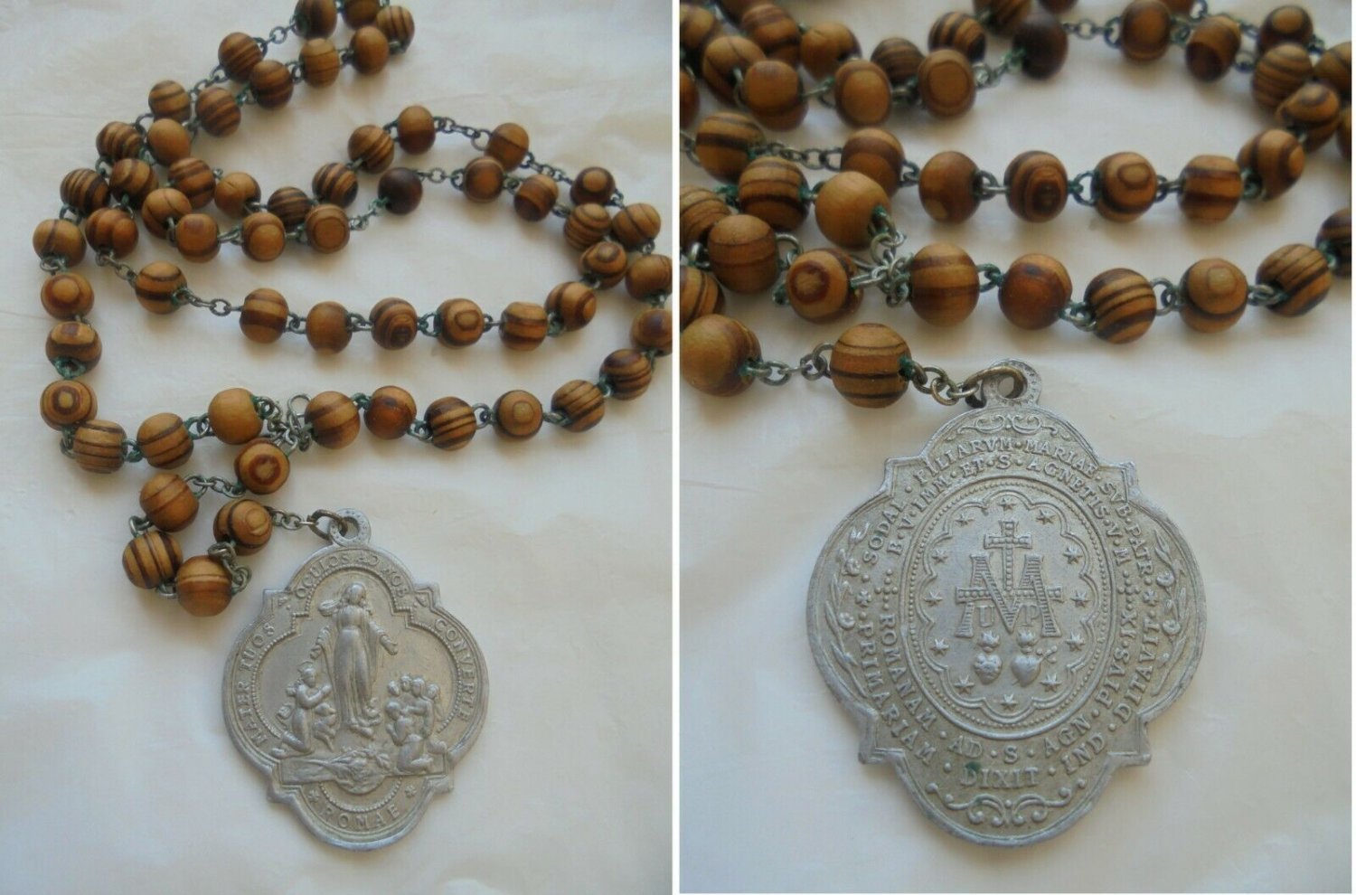 PRAYING ROSARY in olive wood Immaculate Conception Pope Pius IX Original