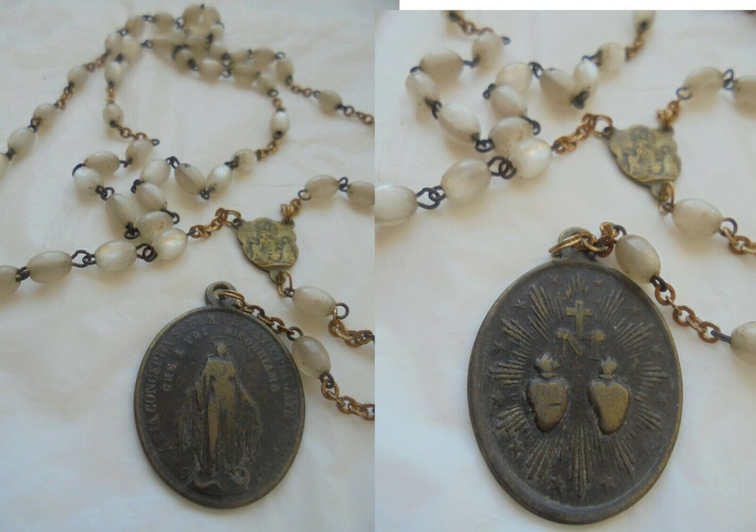 PRAYING ROSARY mother of pearl effect Immaculate Conception Pope Pius IX 1854 Original