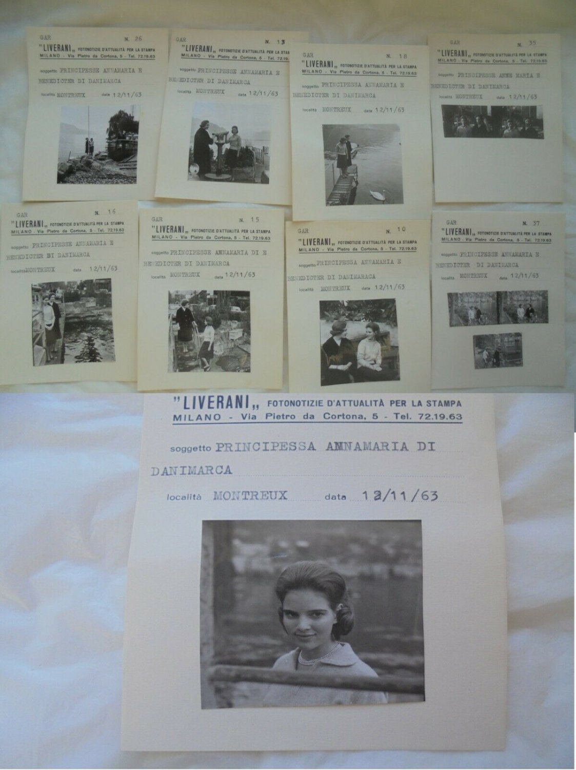 80 Original PICTURES and NEGATIVES photos of Princess Anne Marie and Benedikte of DENMARK 1963
