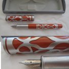 FOUNTAIN PEN LACQUE Orange and in steel Original in gift box