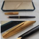 MARKSMAN FOUNTAIN PEN Black and laminated gold Original in gift box 1970s